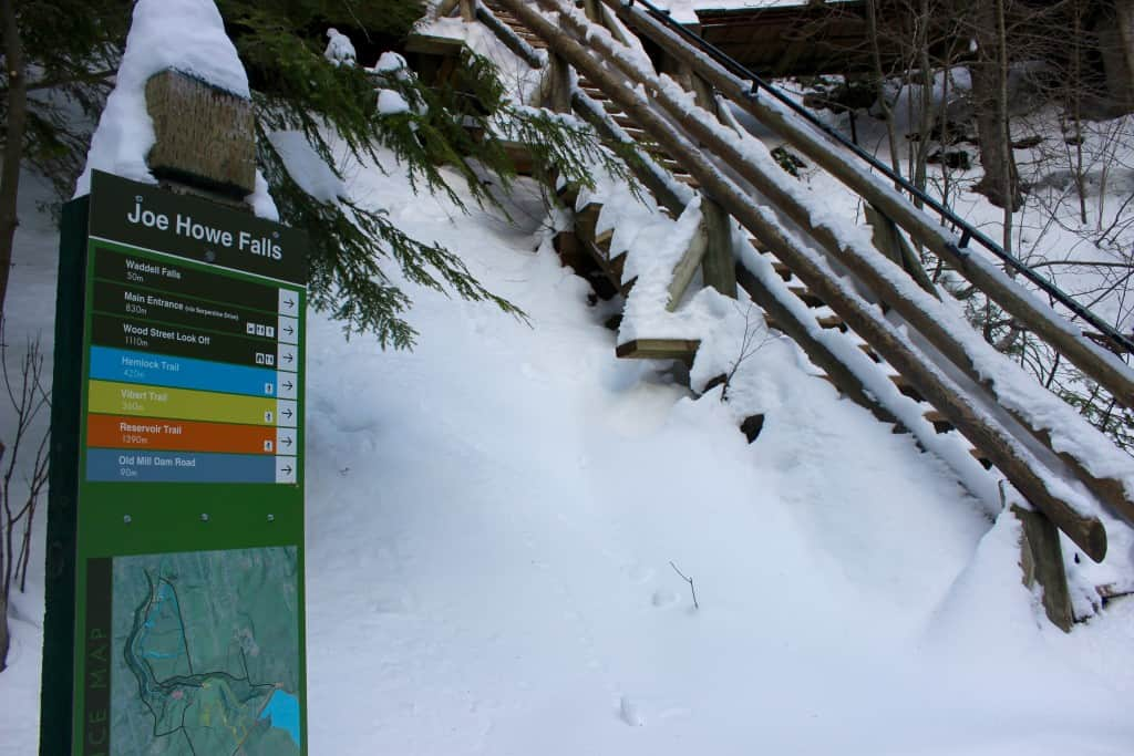- Signs placed throughout the park highlight the different trails, lengths and terrain.