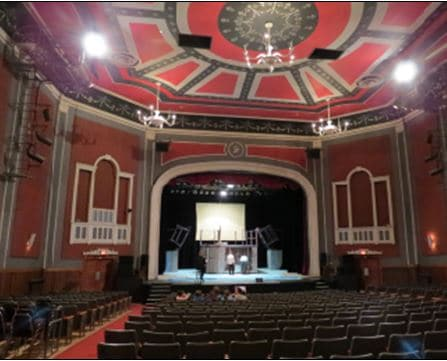 Savoy Theatre interior 2014. Rehearsal for Little Mermaid. The black design outlines represents the coal of Cape Breton.