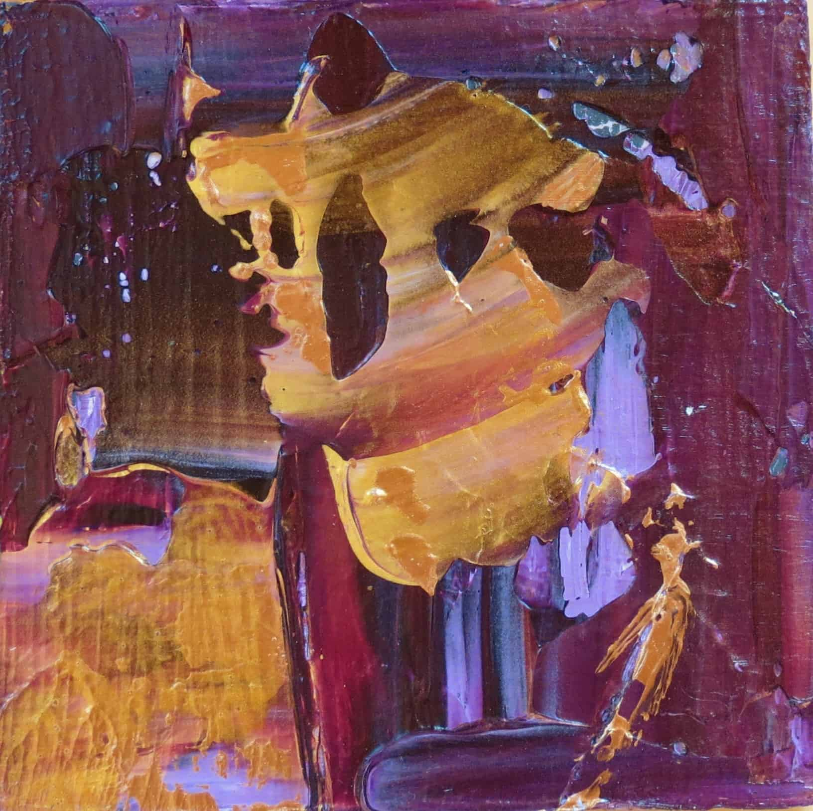 Purple and Gold (2 of 3) Acrylic on Pine Block