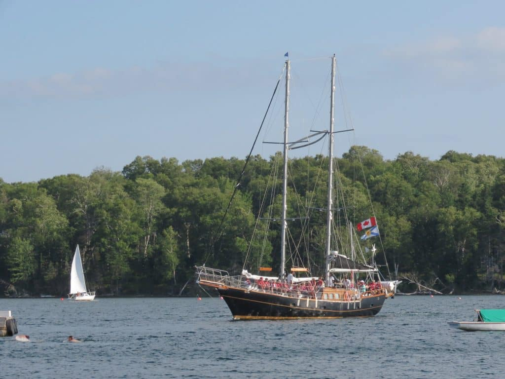 The Amoeba schooner sailing on the Bras d'Or Lake. Baddeck